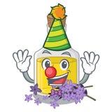 Масло лаванды клоуна над таблицей макияжа мультфильма иллюстрация вектора