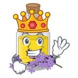 Масло лаванды короля над таблицей макияжа мультфильма иллюстрация штока
