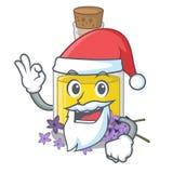 Масло лаванды Санта над таблицей макияжа мультфильма иллюстрация вектора