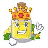 Масло лимона короля полило внутри стекло мультфильма иллюстрация вектора