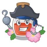 Масло семени плода шиповника пирата в бутылке мультфильма иллюстрация вектора