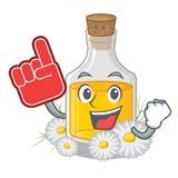 Масло стоцвета пальца пены помещенное в бутылке мультфильма иллюстрация вектора