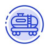 Масло, танк, линия значок голубой пунктирной линии загрязнения иллюстрация штока