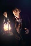 масло человека светильника стоковая фотография