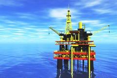 Масло Platrfom моря и топливозаправщик 3D представляют 2 Стоковые Фото