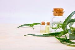 Масло vera алоэ в стеклянной бутылке и полотенце для курорта стоковые изображения