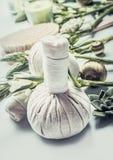 Массажируйте травяные шарики с зелеными травами и цветками ванна вспомогательного оборудования миражирует полотенца спы установки Стоковые Изображения
