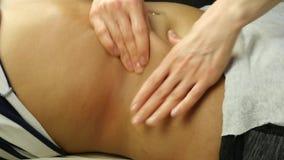 Массаж Anticellulite в клинике руки конца-вверх masseur делая подбрюшный массаж, массаж внутренних органов 4K видеоматериал