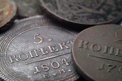 Масса денег в обращении в 1804, медные деньги России пенни старая редкие Стоковые Изображения