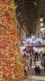 Массивнейшая рождественская елка освещая путь для покупателей в моле стоковая фотография rf