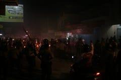 Массовое разрушение Setia Hati Teratai атмосферы на Pasar Nusukan, сольном городе Стоковые Изображения RF