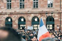 Массовое ралли единства держало в страсбурге следовать за недавним террористом a Стоковые Фото