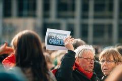 Массовое ралли единства держало в страсбурге следовать за недавним террористом a Стоковые Изображения