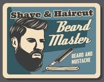 Мастер бороды парикмахерскаи, ретро брить и стрижка иллюстрация вектора