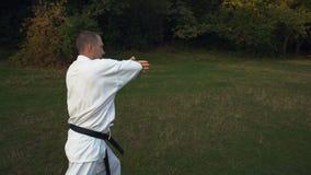 Мастер карате в поездах кимоно на Glade в парке города, практиках дует путем пинать рано утром сток-видео