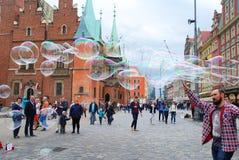 Мастер пузырей мыла в Wroclaw Стоковое Фото
