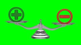 Масштабы на зеленой предпосылке Знак плюс и минус изолированные 3d представляют акции видеоматериалы