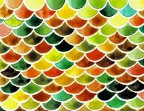 Масштабы рыб акварели Яркая картина лета с масштабами рептилии иллюстрация вектора