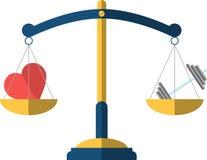 Масштаб баланса с значком сердца и гантели иллюстрация вектора