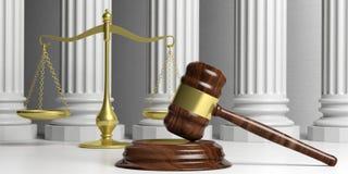 Масштаб правосудия, молоток и классические штендеры иллюстрация 3d бесплатная иллюстрация