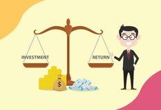 Масштаб рентабельности инвестиций Roi с деньгами и сравнивать между вкладом и возвращением бесплатная иллюстрация