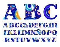 Масленица, испанский алфавит, шрифт вектора, прописные буквы Стоковые Изображения RF