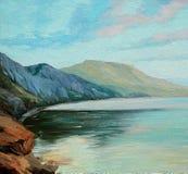 Масло ландшафта моря на холсте, иллюстрации иллюстрация вектора
