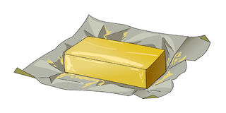 Масло в раскрытом пакете Естественные молочные продучты варить вектор Стоковые Фото
