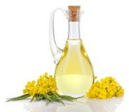 Масло и цветки рапса изолированные над белизной Стоковое Фото
