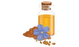 Масло и цветок льна иллюстрация вектора