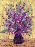 Масло натюрморта. Букет фиолетовых цветков иллюстрация штока