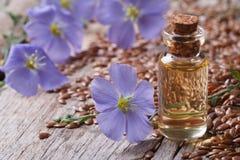 Масло льна в крупном плане, цветках и семенах стеклянной бутылки стоковые изображения
