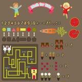Математика для детей Красочные милые значки сети Стоковые Фото