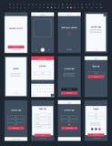 Материальный набор App почты дизайна для черни Стоковое фото RF