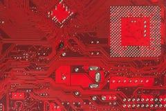 Материнская плата электроники компьютерной микросхемы высокотехнологичная Текстура и предпосылка монтажной платы Стоковые Фото