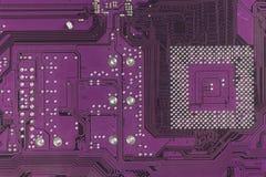 Материнская плата электроники компьютерной микросхемы высокотехнологичная Текстура и предпосылка монтажной платы Стоковое Изображение RF