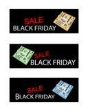 Материнская плата компьютера на черных знаменах продажи пятницы Стоковые Изображения RF