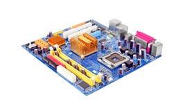 материнская плата компьютера цвета сини близкая вверх Стоковые Изображения RF