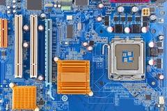 материнская плата компьютера цвета сини близкая вверх Стоковое Изображение RF