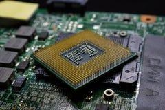 Материнская плата набора микросхем цифров с чипом процессора Стоковое Изображение RF