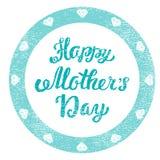 мати дня счастливые Поздравительный затрапезный штемпель для поздравительной открытки иллюстрация штока