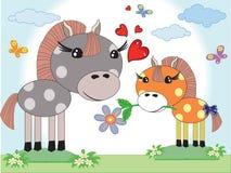 мати 2 лошадей дня бесплатная иллюстрация