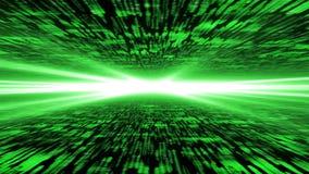 Матрица 3d - летание через подпитанное виртуальное пространство, сильный свет дальше Стоковые Изображения RF