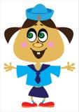Матрос девушки шаржа на белизне Стоковая Фотография RF
