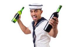 Матрос изолированный с бутылкой вина стоковое фото rf