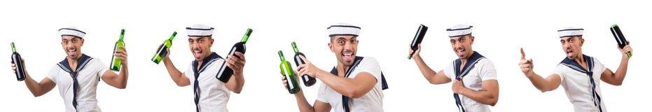 Матрос изолированный с бутылкой вина Стоковая Фотография RF