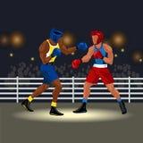 Матч по боксу в кольце Стоковая Фотография RF