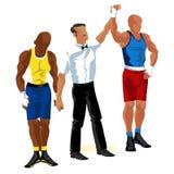 Матч по боксу в плакате кольца плоском Профессиональные боксеры в sportswear и оборудовании имея вектор события зрелища сражения Стоковое Изображение