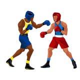 Матч по боксу в плакате кольца плоском Профессиональные боксеры в sportswear и оборудовании имея вектор события зрелища сражения Стоковое Фото