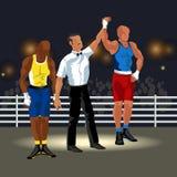 Матч по боксу в плакате кольца плоском Профессиональные боксеры в sportswear и оборудовании имея вектор события зрелища сражения Стоковая Фотография